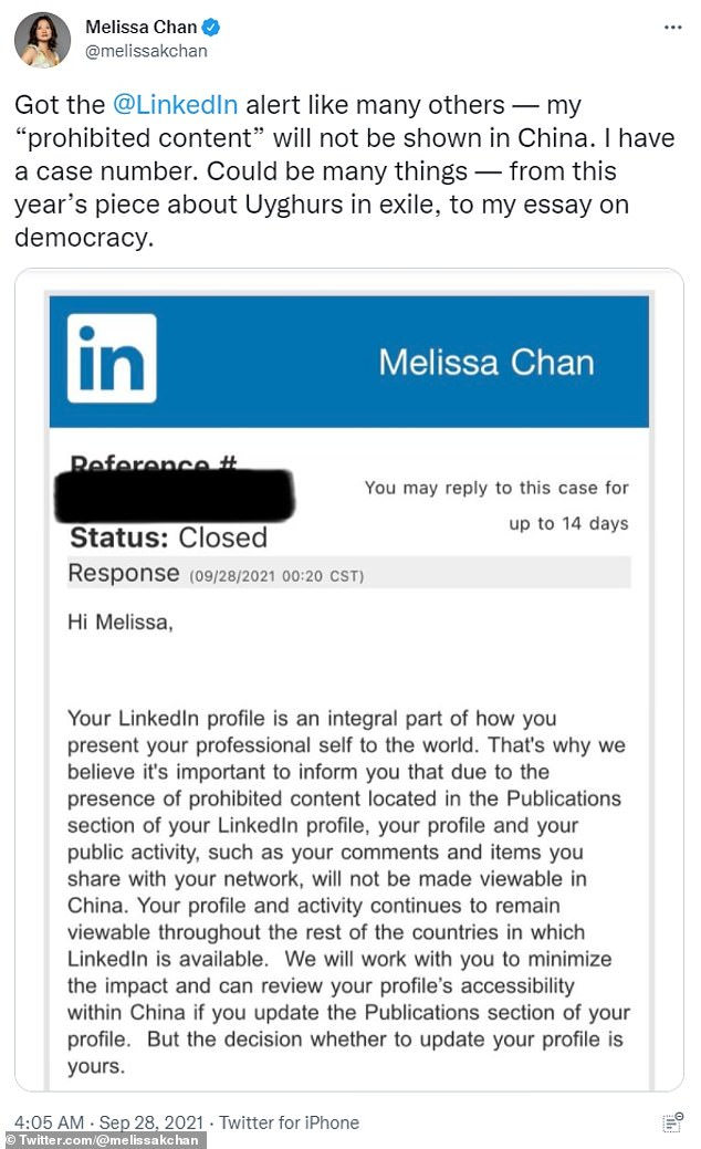 """Melissa Chan, a reporter for several US-based outlets, tweeted: 'Got the @LinkedIn alert like many others ¿ my """"prohibited content"""" will not be shown in China. I have a case number'"""