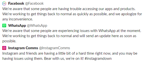 Outage tweets