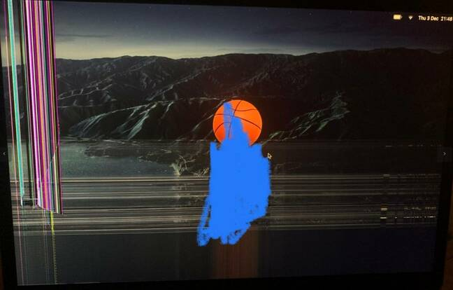 Image of flawed Apple MacBook screen from Almeida complaint