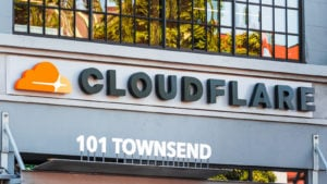 Close up of Cloudflare logo at the Company's headquarters