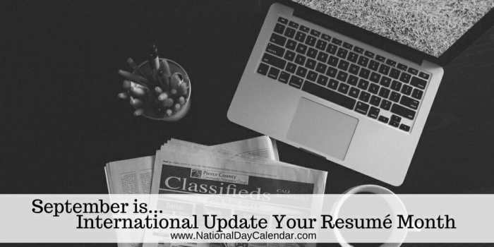 international update your resume month  u2013 september