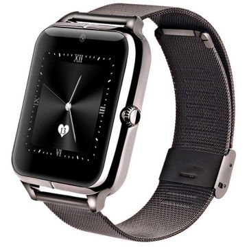 Ceas Smartwatch MediaTek™ Z50 - slot sim, 1.54 inchi 2.5D Display, Bluetooth 3.0,ios android notification, Black Edition