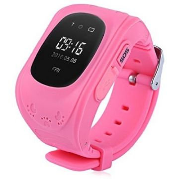 Ceas Telefon Smartwatch  monitorizare copii TC Q50, Model 2017, Roz