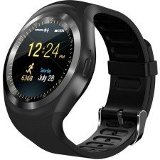 Ceas Smartwatch MediaTek Y1 Black, Ecran Touchscreen, Bluetooth, SIM Notificari, Pedometru