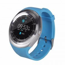 Ceas Smartwatch MediaTek Y1 Blue, Ecran Touchscreen, Bluetooth, SIM Notificari, Pedometru