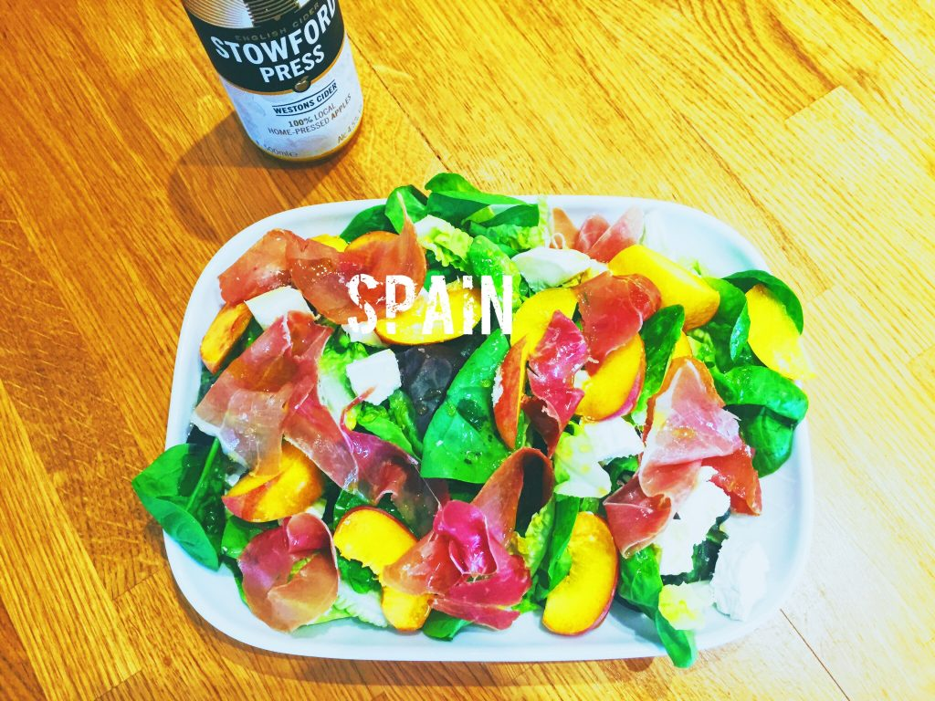 Serrano Ham, Peaches and Goats Cheese Salad what is the national dish of Spain