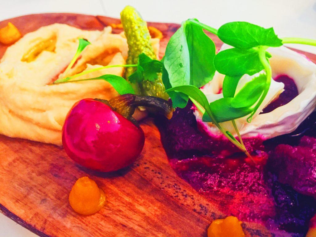 Israeli 3 dip tapas dish with Hummus, Beetroot and Baba Ganoush at New Moon Tapas in Clifton, Bristol
