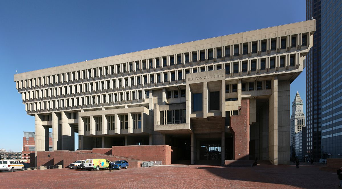 boston's city hall is an example of the architectural movement known as brutalism. it's ugly