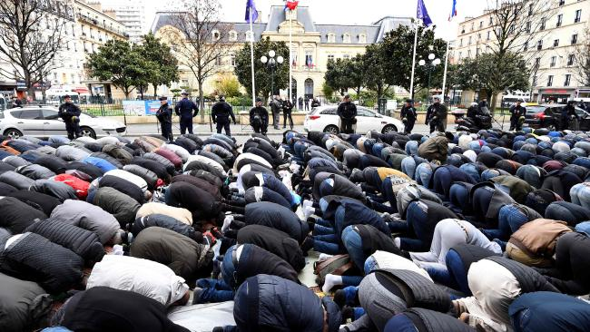 muslims called to pray in paris, france: most europeans are against more islamic immigration