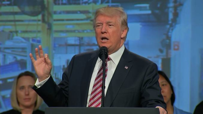 president donald trump promises big tax cuts to the association of american manufacturers
