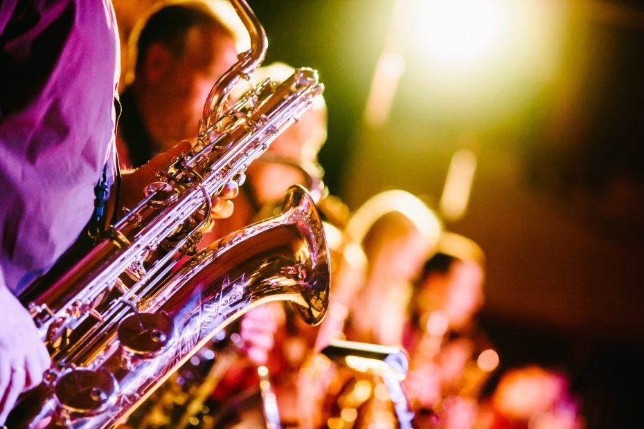 Close up of saxaphones in jazz concert.