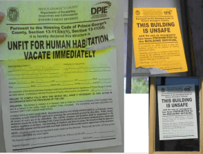 These signs are from a Deutsche Bank-owned house in Prince George's County, MD.