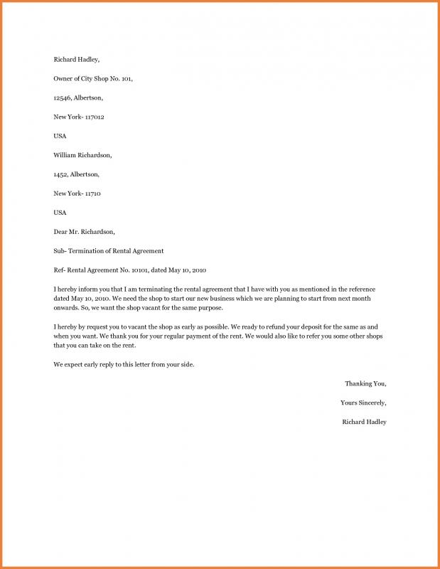 Letter To Landlord Breaking Lease Template Textpoems