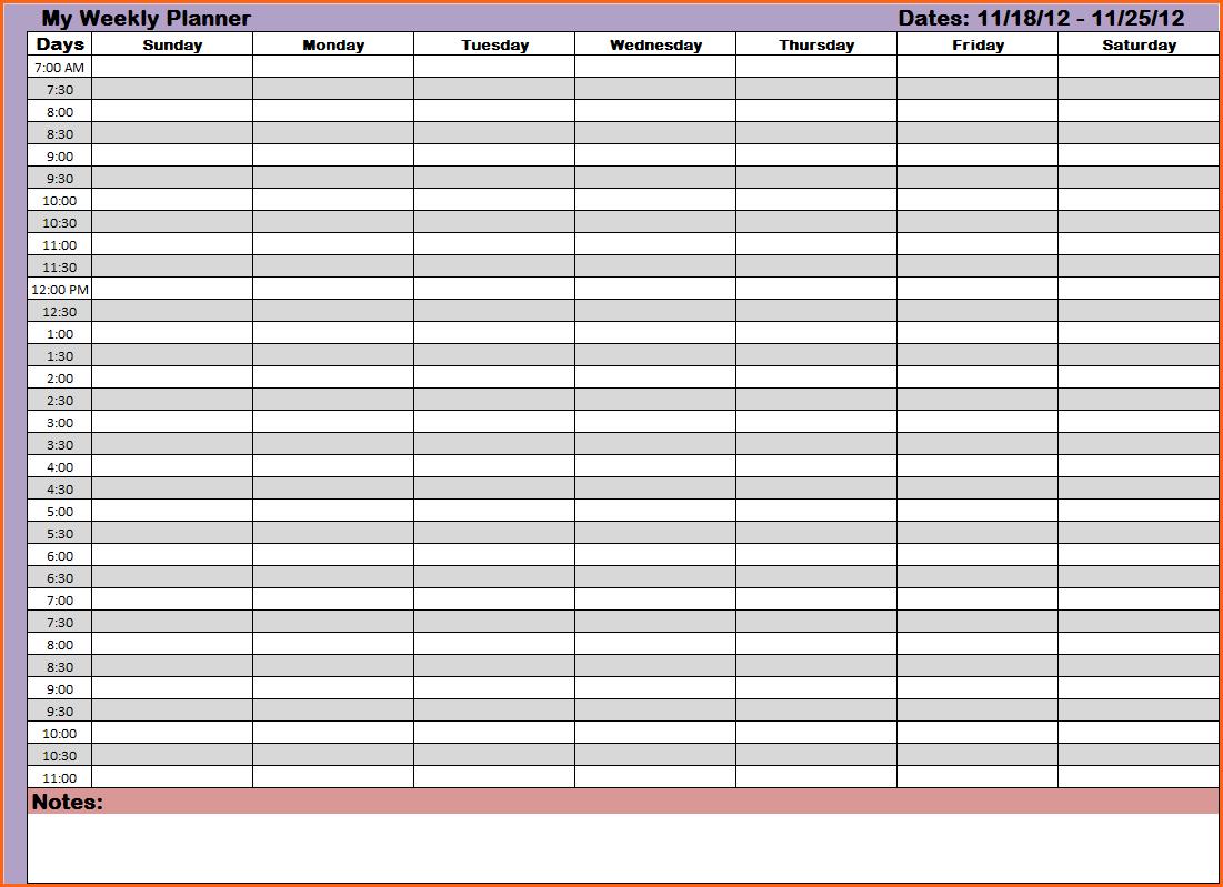 Weekly Hourly Planning Calendar