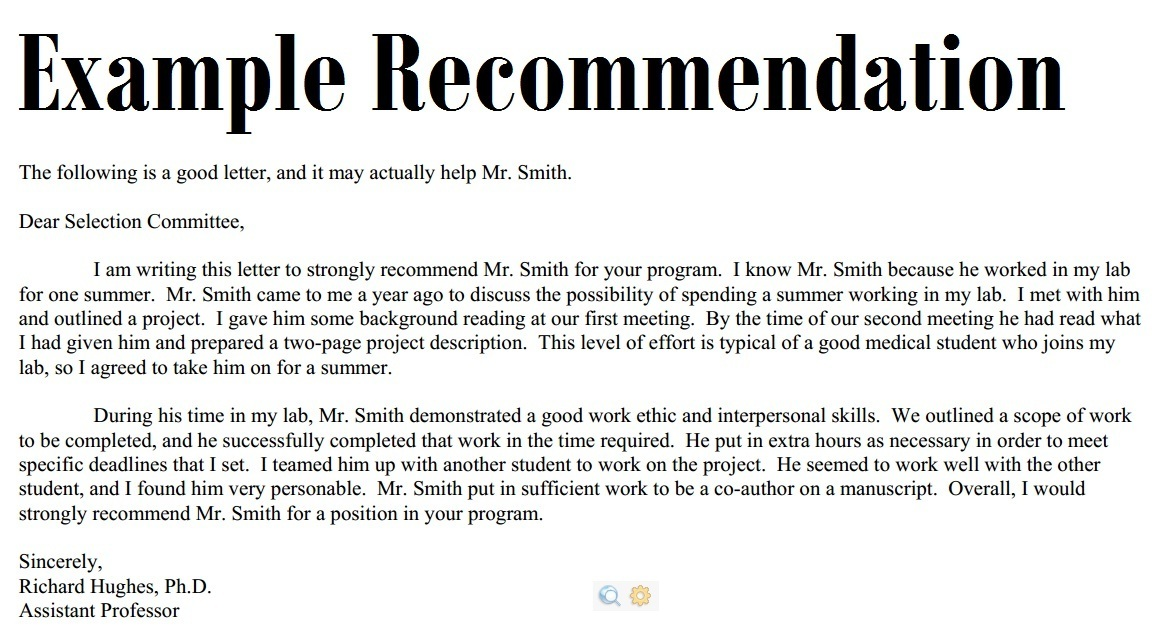 Letters Of Recommendation Example