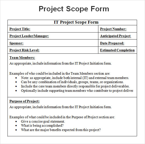 Project Scope Example Template Business