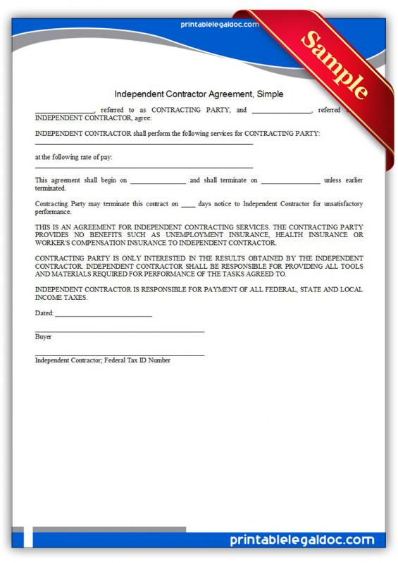 Simple Independent Contractor Agreement Template Business