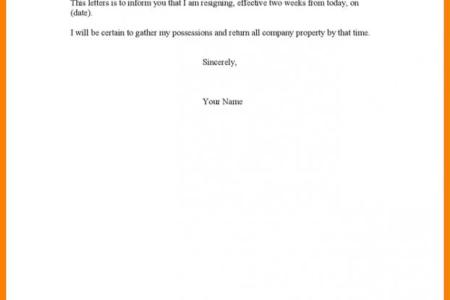 letter format 2 weeks notice copy resignation examples printable