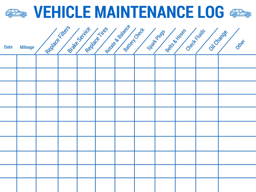 Vehicle Maintenance Worksheet Template