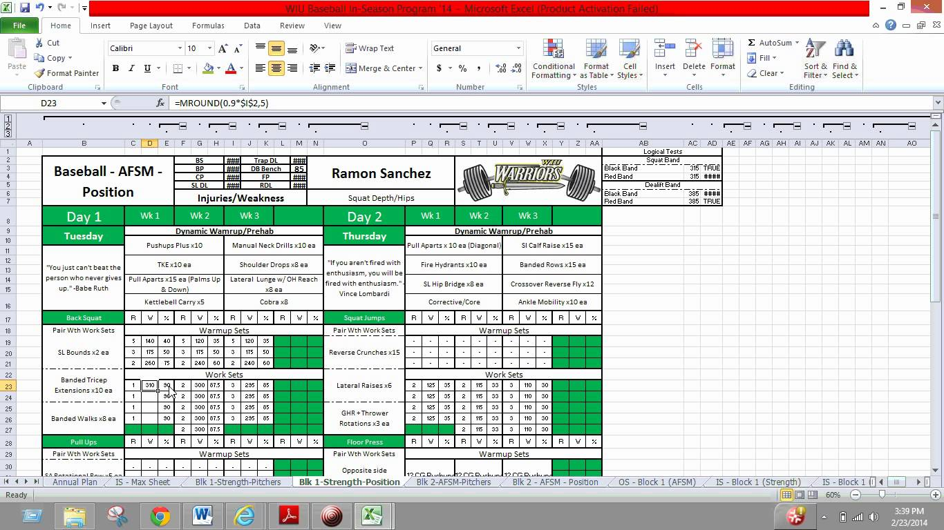 Phul Workout Excel Eoua Blog