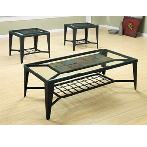 3 pc slate and glass coffee end table set 55040 wd