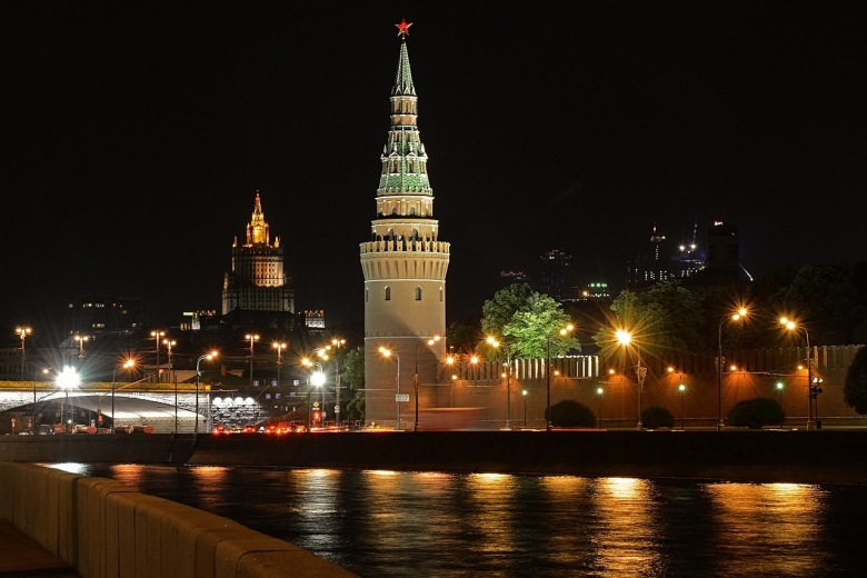 Image: Moscow at night. Public domain image via Pixabay/Evgeny.