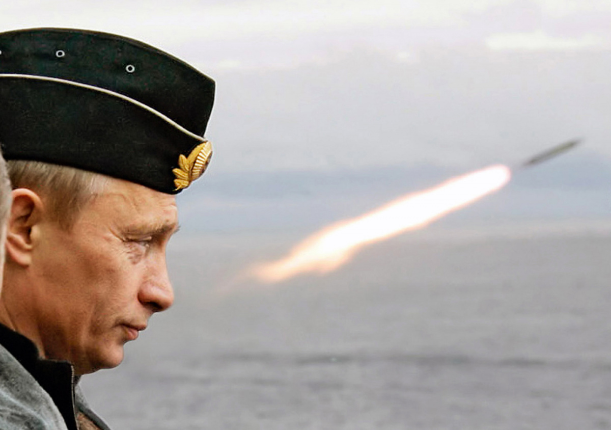 Russian President Putin watches the launch of a missile during naval exercises in Russia's Arctic North on board the nuclear missile cruiser Pyotr Veliky.