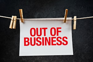 Out of business note printed on paper