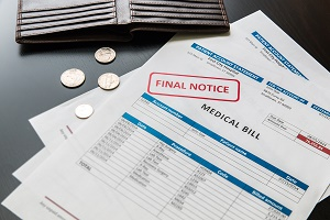 Medical bill, rising medical cost concept, data is fictional.
