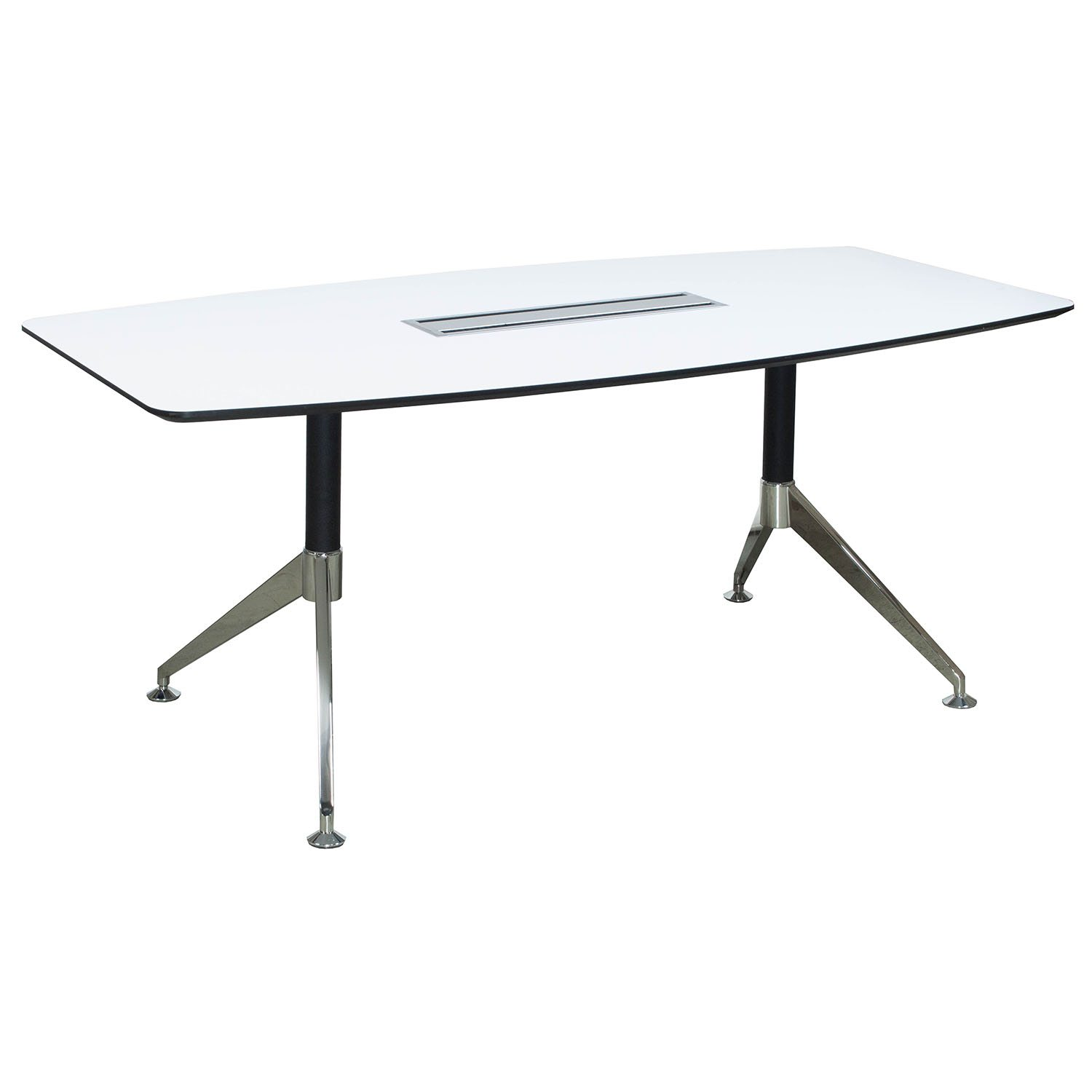 Morgan 8 Foot Melamine Boat Shaped Conference Table White
