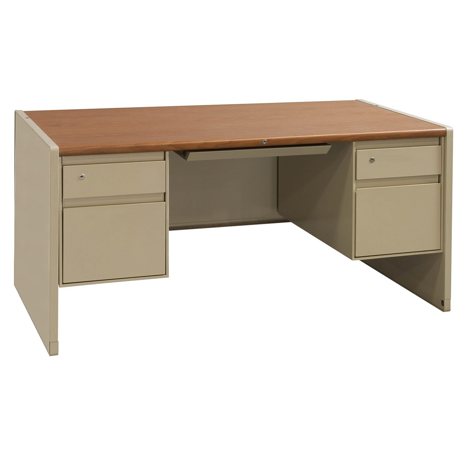 Steelcase Metal Used 30 60 Double Pedestal Desk Putty