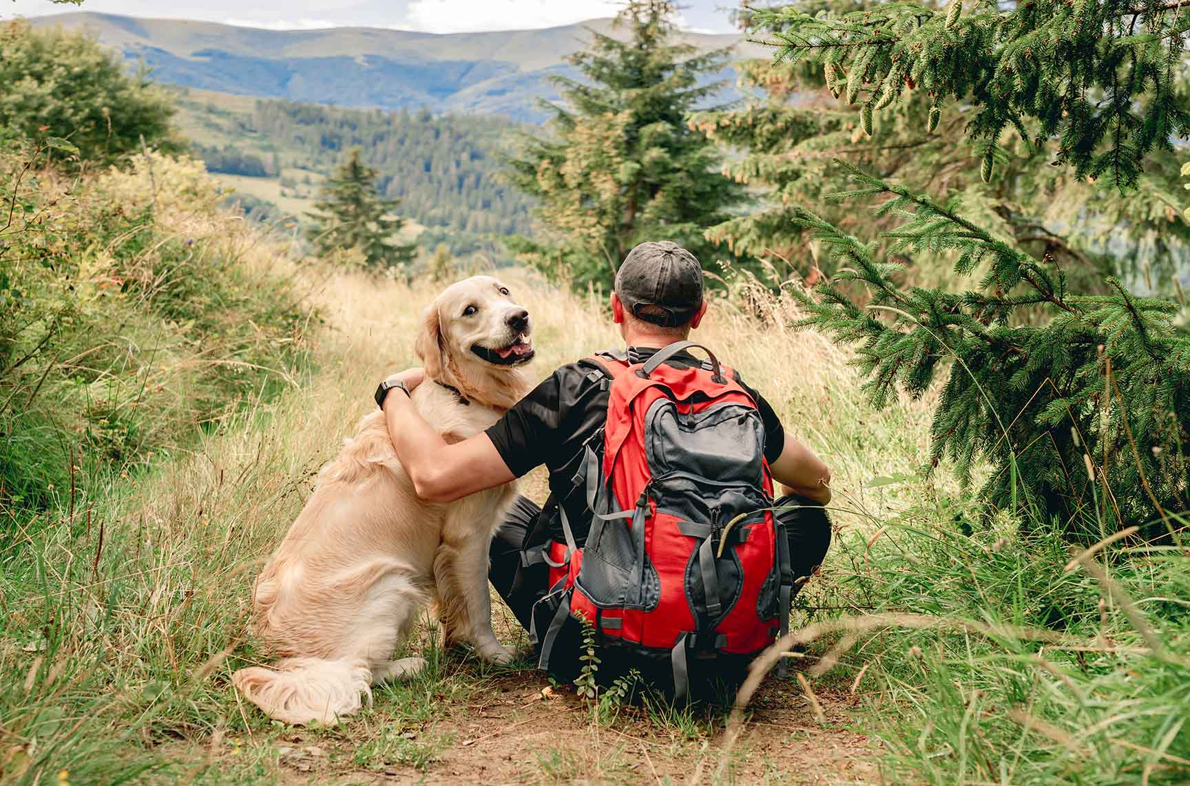 man-sitting-backwards-mountain-trekking-trail-golden-retriever-dog
