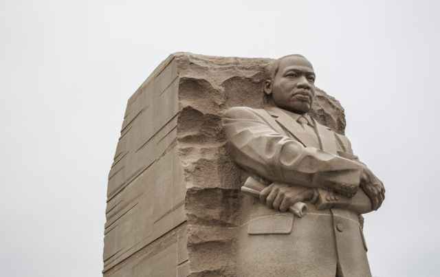 stone statue of leader of civil rights movement in washington dc