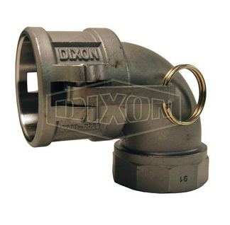 "1"" Stainless Steel 90° Type D Coupler x Female NPT Elbow"