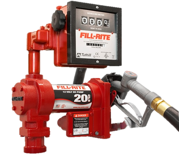 Fill Rite FR4211G 12 Volt DC High Flow Pump with Hose, Manual Nozzle and Meter