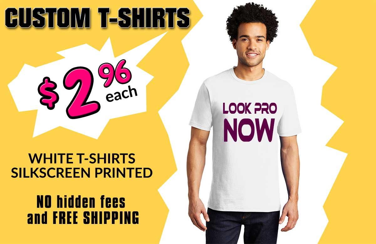 100 custom printed white t-shirts