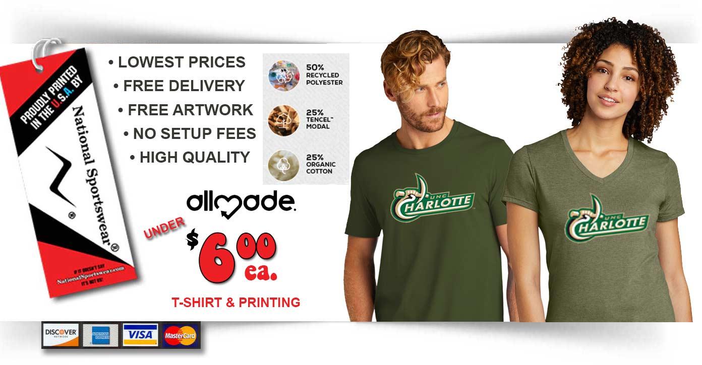 UNCC t-shirt printing company