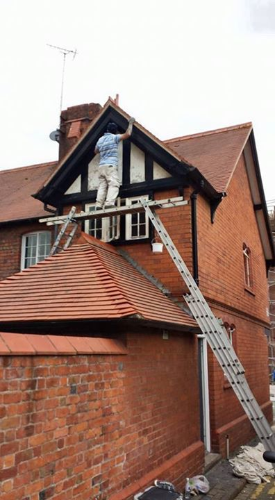 Painter taking a risk