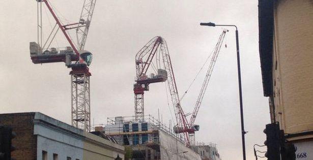 Greenwich crane bent in storm Katie