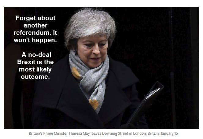 May To Skip Davos, No-Deal Brexit Odds Greater Than Many Think