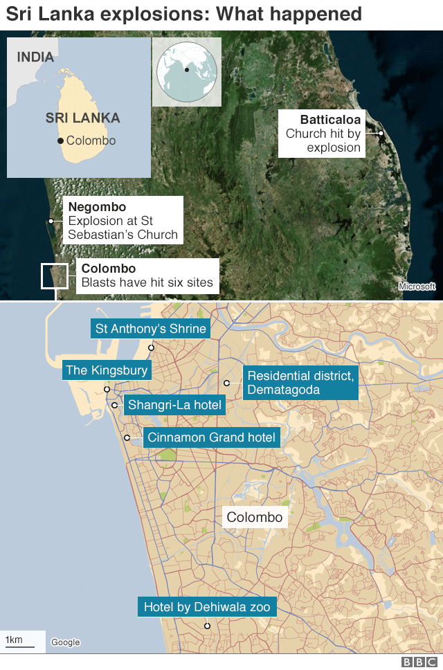 Map showing locations of attacks