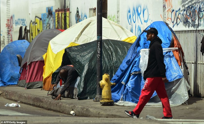 An estimated 4,200 people live in the 50-block district known as Skid Row, many in tents and shantytowns. The city adopted a law in 2016 permitting authorities to clean up homeless sidewalk encampments and store items to be reclaimed later