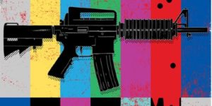 "Black automatic assault rifle against a colorful background riddled with bullet holes while the red section of the background ""bleeds"""