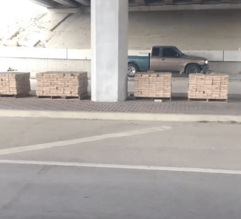 Pallets of bricks delivered to Texas town like video game care packages