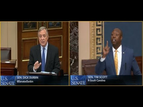 Dick Durbin used his White Power to make a racist comment about Senator Tim Scott's bill.
