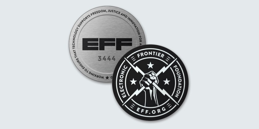 Limited edition EFF challenge coin