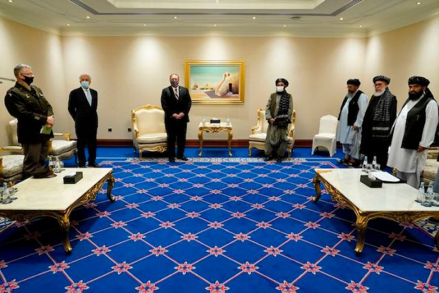 Secretary of State Mike Pompeo meets with Taliban co-founder Mullah Abdul Ghani Baradar in Doha