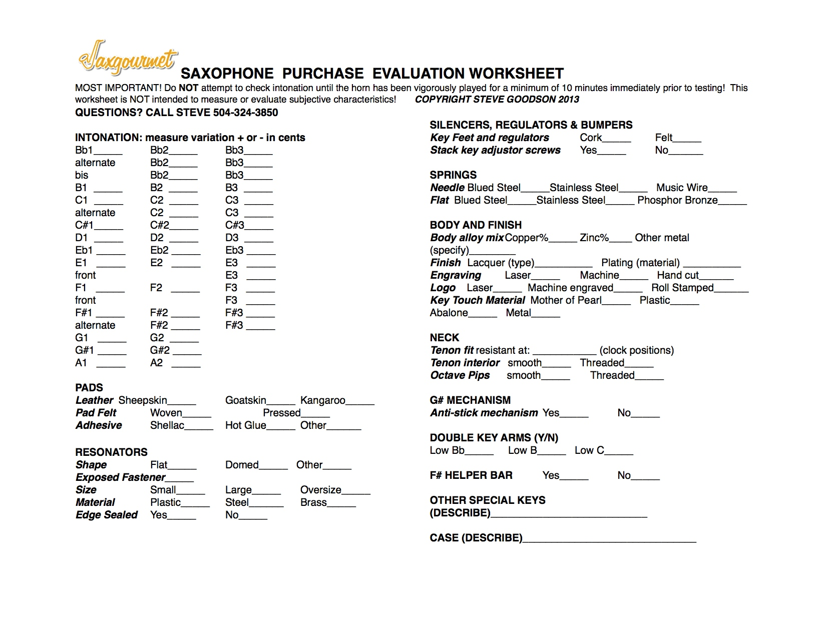 A Worksheet For Saxophone Buyers