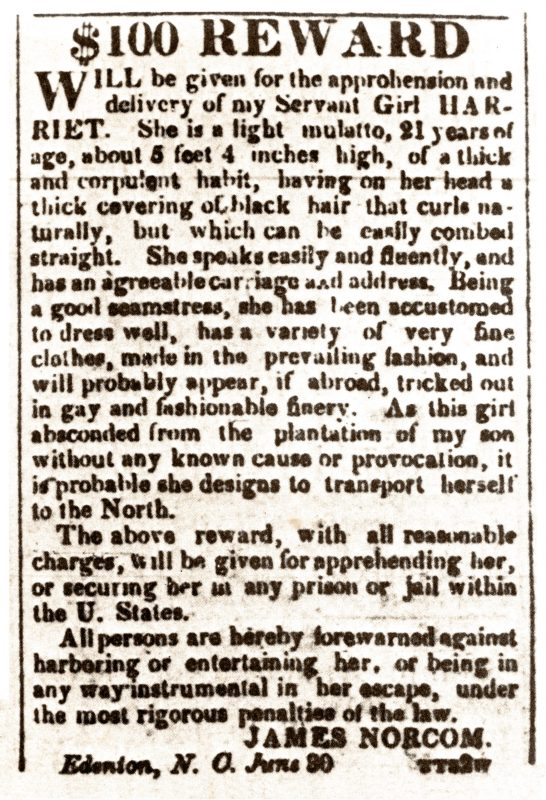 An 1835 advertisement in The American Beacon, published in Norfolk, Virginia, offered a $100 reward for capturing Harriet Ann Jacobs