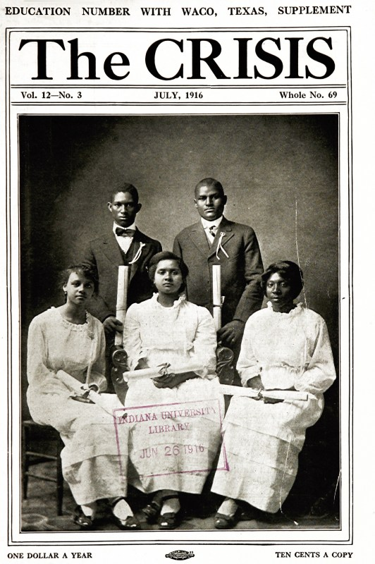 Cover of The Crisis journal published July 1916 featuring 5 African-American students posing on the cover